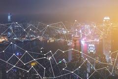 Современные технологии для городского пейзажа соединения воздушного городского Стоковые Фото