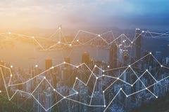 Современные технологии для городского пейзажа соединения воздушного городского Стоковые Изображения RF