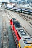 Современные трамваи и поезда транспорта Стоковое Фото