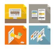 Современные устройства и шаблоны интернет-страницы Стоковые Фотографии RF