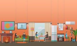 Современные устройства для концепции ежедневной жизни vector иллюстрация, плоский стиль бесплатная иллюстрация