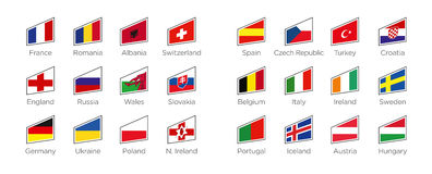 Современные флаги - сформируйте значки страна-участниц к турниру 2016 футбола в Франции Стоковое Фото