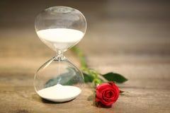 Современные часы и красная роза с космосом экземпляра Стоковые Фото