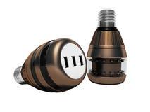 Современные электрические лампочки с соединять usb 3d для того чтобы не представить на белой предпосылке никакую тень бесплатная иллюстрация