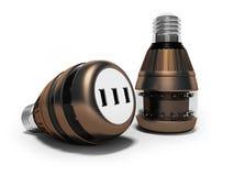Современные электрические лампочки с соединять usb 3d для того чтобы представить на белой предпосылке с тенью иллюстрация вектора