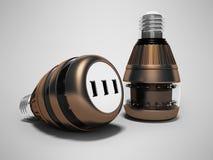Современные электрические лампочки с соединять usb 3d для того чтобы представить на серой предпосылке с тенью бесплатная иллюстрация