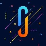 Современный абстрактный красочный алфавит с минимальным дизайном письмо o Абстрактная предпосылка с холодными яркими геометрическ Иллюстрация вектора
