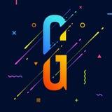 Современный абстрактный красочный алфавит с минимальным дизайном Письмо g Абстрактная предпосылка с холодными яркими геометрическ Бесплатная Иллюстрация
