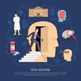 Современный абстрактный плакат психолога иллюстрация вектора