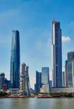 Современный берег реки Гуанчжоу Китай вида на город Стоковое Изображение