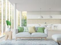 Современный белый живущей перевод комнаты и столовой 3d отображает Стоковая Фотография