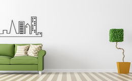 Современный белый интерьер живущей комнаты с зеленым изображением перевода софы 3d Стоковые Изображения RF