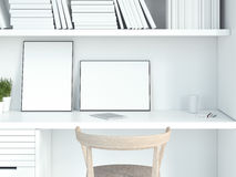 Современный белый интерьер с 2 пустыми картинными рамками перевод 3d Стоковые Фотографии RF