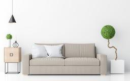Современный белый перевод изображения 3d минималистичного стиля живущей комнаты внутренний Стоковое Изображение RF
