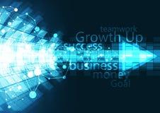 Современный бизнес-план с светлым дизайном стрелки, успешных и технологии концепции на голубой предпосылке Стоковая Фотография