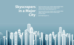 Современный большой город также вектор иллюстрации притяжки corel Стоковые Изображения RF