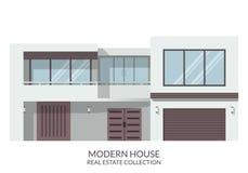 Современный большой дом, недвижимость подписывает внутри плоский стиль также вектор иллюстрации притяжки corel Стоковое Изображение