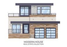Современный большой дом, недвижимость подписывает внутри плоский стиль также вектор иллюстрации притяжки corel Стоковое Фото