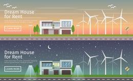 Современный большой дом с альтернативными энергией зеленого цвета Eco, заходом солнца и ночой, плоскими знаменами сети Стоковое Фото