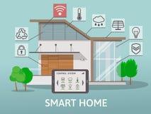 Современный большой умный дом с террасой Плоская концепция стиля дизайна, система централизованного контроля также вектор иллюстр Стоковое Изображение RF