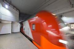 Современный быстроходный поезд Lastochka Меньшее кольцо железных дорог Москвы, 54 железная дорога орбитали 4-kilometre-long Росси Стоковое Изображение