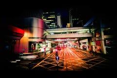 Современный взгляд ночи конспекта города Hong Kong стоковая фотография rf