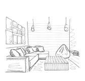 Современный внутренний эскиз комнаты Мебель нарисованная рукой Стоковое фото RF