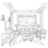 Современный внутренний эскиз комнаты Стул и мебель Стоковые Изображения RF