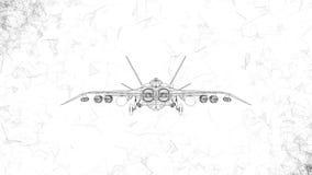 Современный воинский боевой самолет вращает Отснятый видеоматериал в ультра технологическом стиле накаляя черных линий летая вокр акции видеоматериалы