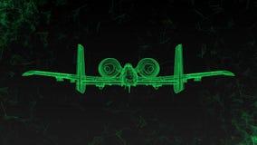 Современный воинский боевой самолет вращает Отснятый видеоматериал в ультра технологическом стиле накаляя зеленых линий летая вок сток-видео