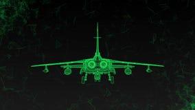 Современный воинский боевой самолет вращает Отснятый видеоматериал в ультра технологическом стиле накаляя зеленых линий летая вок видеоматериал