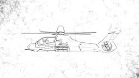 Современный воинский вертолет боя вращает Отснятый видеоматериал в ультра технологическом стиле накаляя черных линий летая вокруг видеоматериал