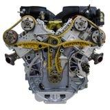 Современный восьмицилиндровый двигатель автомобиля V8 изолированный на белой предпосылке стоковое фото