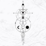 Современный геометрический символ алхимии Стоковая Фотография RF