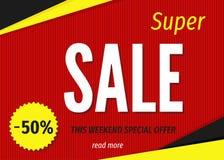Современный геометрический супер шаблон знамени продажи на красной предпосылке Стоковое фото RF