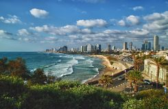 Современный горизонт Тель-Авив - Израиль стоковые фото