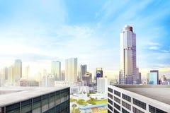 Современный город с высокими небоскребами стоковые фотографии rf