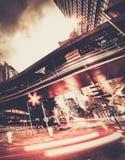 Современный город на ноче стоковое фото rf