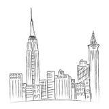 Современный, город, Нью-Йорк, эскиз, линия города Стоковые Изображения RF