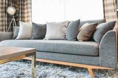 Современный голубой дизайн интерьера спальни тона цвета Стоковая Фотография RF