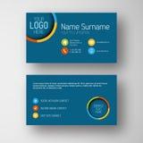 Современный голубой шаблон визитной карточки с плоским пользовательским интерфейсом Стоковое Изображение RF