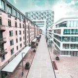 Современный деловый центр на предпосылке голубого неба в Кёльне, Германии Стоковая Фотография