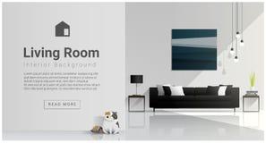 Современный дизайн живущей комнаты, внутренняя предпосылка Стоковое Изображение