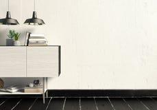 Современный дизайн интерьера в скандинавском стиле Насмешка вверх по стене 3D i Стоковое Изображение RF