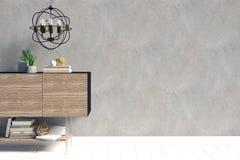 Современный дизайн интерьера в скандинавском стиле Насмешка вверх по стене 3D i Стоковые Изображения