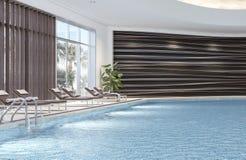 Современный дизайн интерьера крытого бассейна Стоковое фото RF