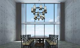 Современный дизайн интерьера столовой просторной квартиры и красная бетонная стена текстурируют предпосылку Стоковое Изображение