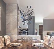 Современный дизайн столовой кухни Стоковое Изображение RF