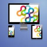 Современный дизайн шаблона применения для фирменного стиля Таблетка и телефонный аппарат компьютера стоковые фото