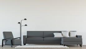 Современный живущий интерьер с черно-белым изображением перевода 3d Стоковые Изображения RF